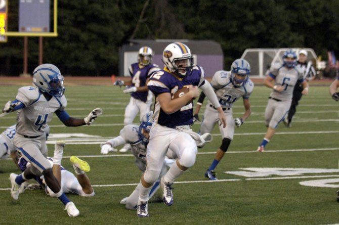 Lake Braddock junior Kyle Edwards made his first start at quarterback against West Potomac on Aug. 29.