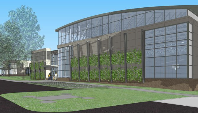 Artistu0027s Rendition Of New Gym Exterior With Glass Walls And Plantings.