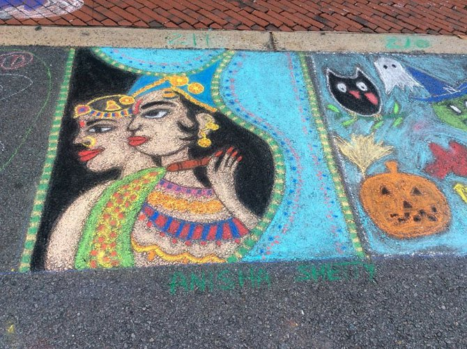 The third place prize for the September ChalkFest at Reston in the Families & Kids category was won by Anisha Shetty.