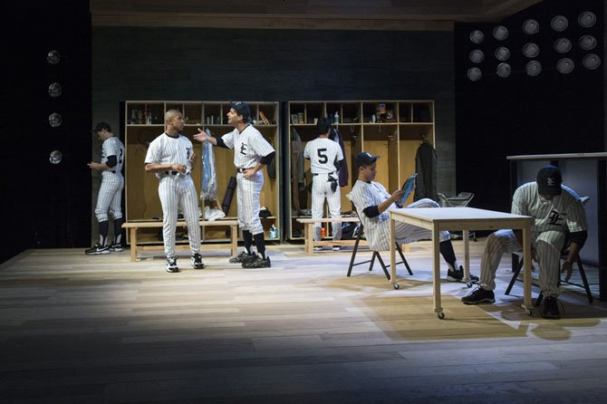 "From left -- Tim Torre, Jaysen Wright, Sun King Davis, Jacob Yeh, Adrian Vigil and Steven Soto in ""Take Me Out"" at 1st Stage. The show runs through Oct. 12."