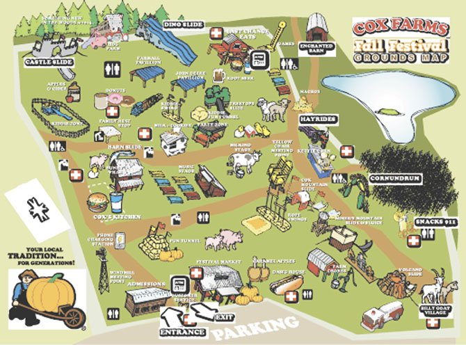 Map of the Cox Farms grounds.