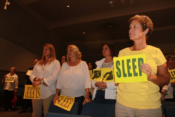 Supporters of later school start times at the Sept. 19 School Board meeting.