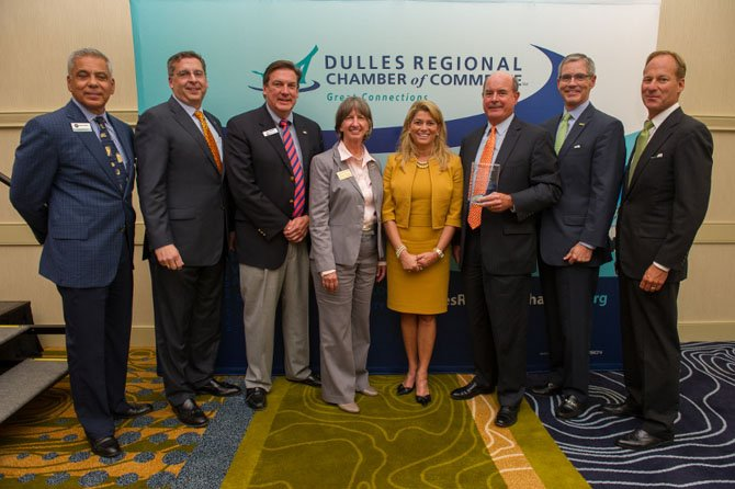 Area banking leaders attend the Dulles Regional Chamber's annual industry luncheon. From left: Howard Pisons, president and CEO of the Community Bankers Bank, Jeff Dick, chairman, president and CEO of MainStreet Bank, Gary Shook, president and CEO of Middleburg Bank, Mary Gayle Holden, chairman of the Dulles Regional Chamber Board of Directors, Shaza Andersen, president and CEO of WashingtonFirst Bank, Dave Summers, chairman and CEO of Virginia Heritage Bank, Mike Fitzgerald, chairman, president and CEO of the Bank of Georgetown, and Mike Clarke, president and CEO of Access National Bank.