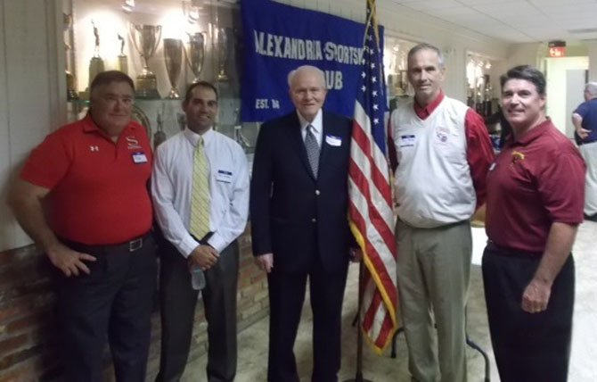 The Alexandria Sportsman's Club hosted its annual High School Football Coaches Night Sept. 16 at the Old Dominion Boat Club. From left are Rick Veatch, St. Stephens and St. Agnes; Panos Voulgaris, Episcopal; ASC president Allan Kaupinen; Dennis Randolph, T. C. Williams, and Tony Verducci, Bishop Ireton.