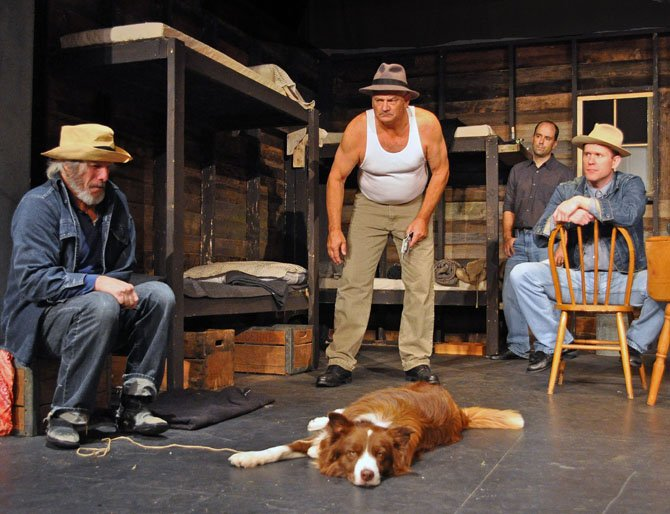 """From left -- David James, Craig Geoffrion, Bobby Welsh and Ian Wade with Pagaan as Dog in rehearsal for the Providence Players production of """"Of Mice and Men."""""""