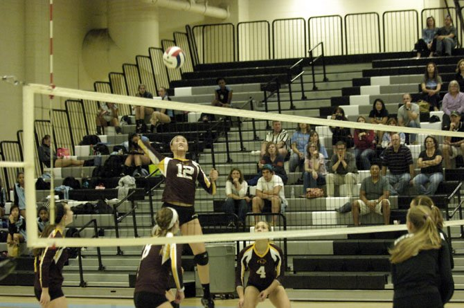 Oakton sophomore Alice Yang had 17 kills against Centreville on Monday.
