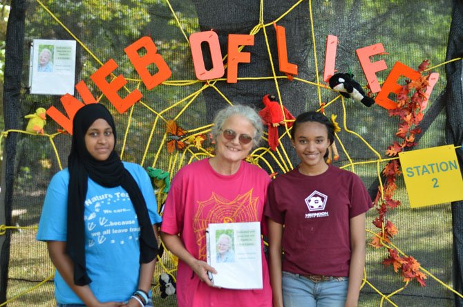 Baraa Abdelhafiz, Beth Hardesty and Reem Osman talked to visitors about the web of life at the 2014 Herndon NatureFest held at Runnymede Park. The Friends of Runnymede dedicated the day's work to Ann Hopper Csonka who passed in March 2014.