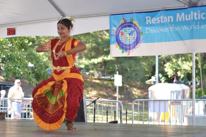 Aishwarya Subramanian, student at the Jayamangala School of Music and Dance performed classical Indian dances at the 2014 Reston Multicultural Festival.