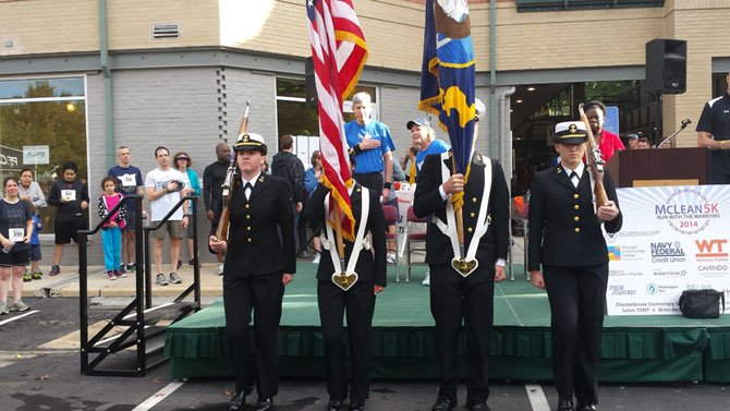 The Color Guard presents the colors prior at the awards ceremony following the race.