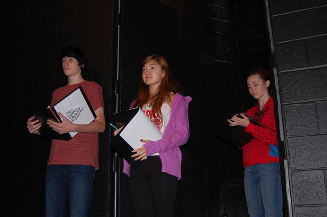 Unruly Theatre Project in rehearsal: (from left) Joey Barth (McLean), Jade Lewis (South Lakes) and Elizabeth Rudacille (Fairfax).