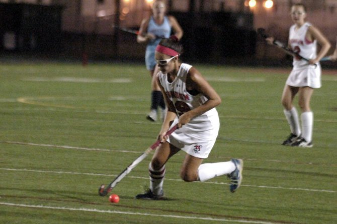 Sofia Palacios, seen earlier this season, and the Herndon field hockey team suffered its first loss of the season on Oct. 8, but responded with a win against Oakton two days later.