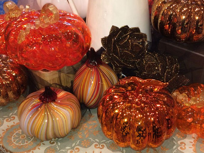 Glass pumpkins create decor that lasts beyond Halloween.