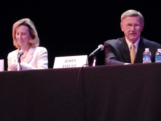The stark stage at McLean Community Center's Alden Theater served as the backdrop for the final debate between Republican Barbara Comstock and Democrat John Foust co-hosted by The McLean Citizens Association and the Great Falls Citizens Association on Sunday afternoon, Oct. 26.