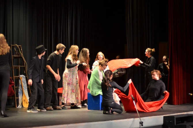 Herndon Middle School 8th graders performed a one-act play on the history of Herndon on Oct. 23 at Herndon Middle School. A historic Herndon event included in the play was the great fire of 1917.