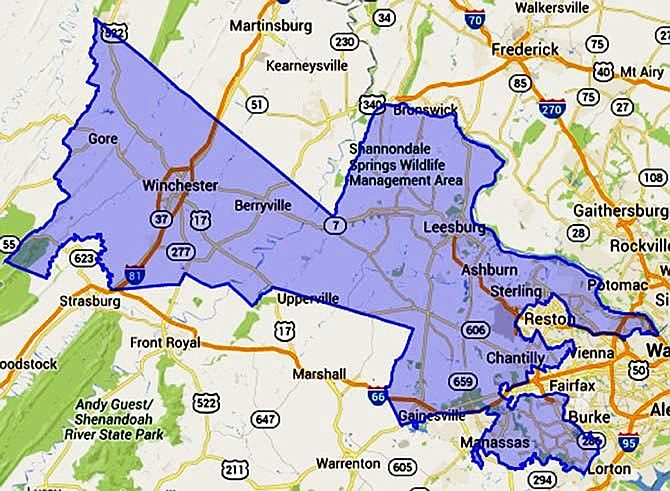 Virginia's sprawling 10th district, originally created in 1952, stretches from inside the Capital Beltway in northern Virginia west to the Shenandoah Valley.