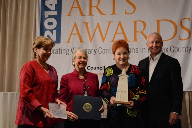 (From left) Arts Council of Fairfax County president and CEO Linda Sullivan, Cappies international chair Jane Strauss, Cappies international and program director Judy Bowns and Arts Council Chairman Joe Ritchey pose after recognizing the Arts Education Award.