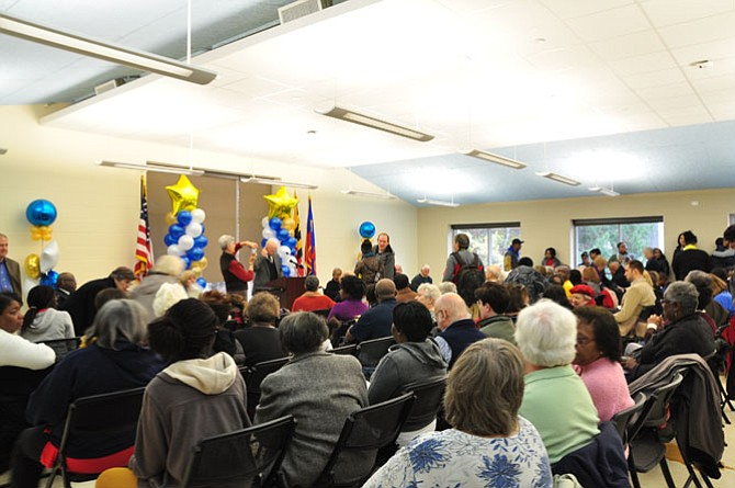 Residents and county officials gather in the newly rebuilt Scotland Community Center on Saturday, Nov. 1.