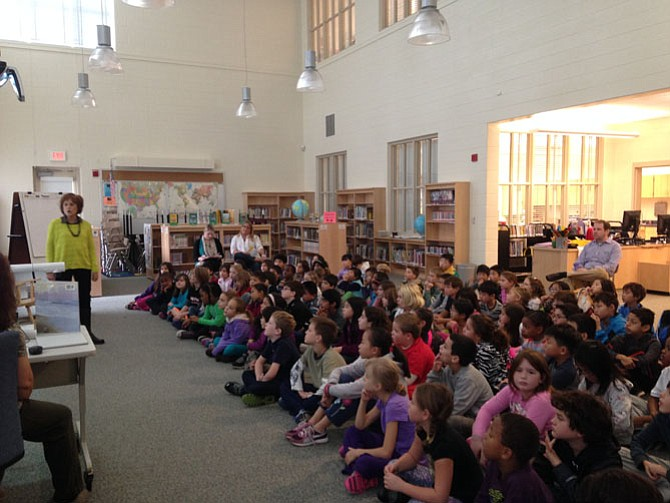 Author Laura Krauss Melmed speaks to third-grade students at Beverly Farms elementary school during a two-day author-in-residence program.