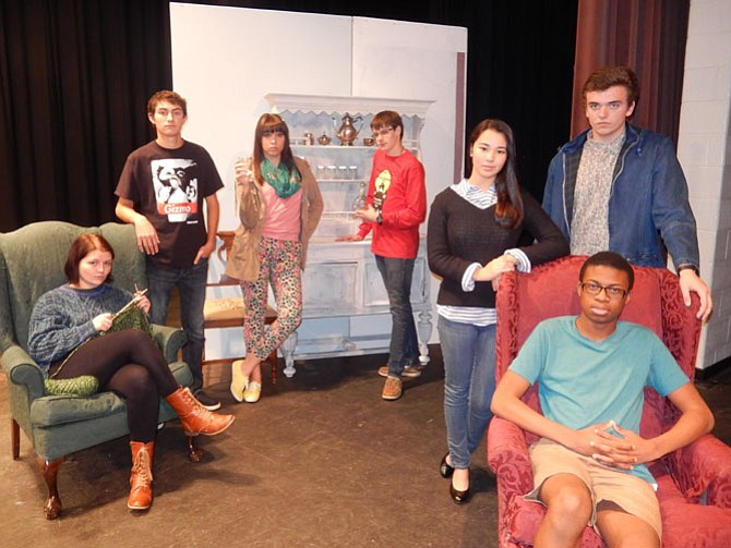 Posing in character are (standing, from left) Jessica Swanson, Zach Szmerekovsky, Zoe Hawryluk, Andrew Brockmeyer, Elizabeth Coo and Embrey Grimes; and (seated) Eni Oyeleye.