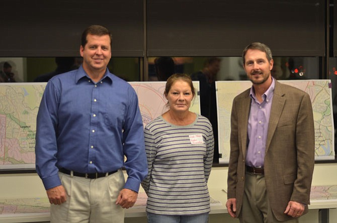 "Reston Association Acting Deputy Director for Mike McNamara with Linda Thomas and Reston Association Director of Parks Larry Butler. The three Reston Association employees attended the Nov. 6 ""Snow Summit"" at Reston Association Headquarters."