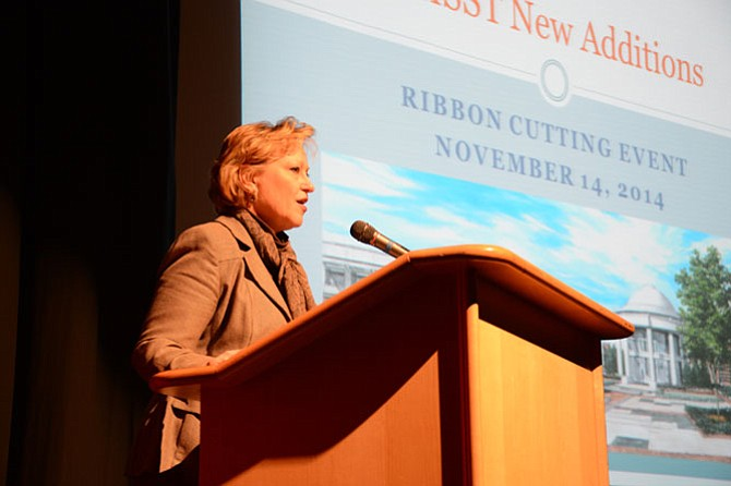 Fairfax County Public Schools Superintendent Karen Garza addressed students, parents, teachers and the Thomas Jefferson community after the ribbon was cut on the high school's new laboratory wing.