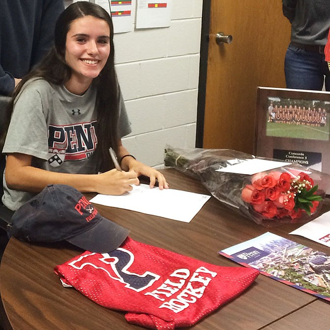 Herndon senior Sofia Palacios signed a letter of intent to play field hockey at the University of Pennsylvania.