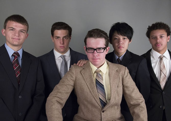 "(From left) are Grant Seastream, Gunnar Michael, Rob Condas, Lawrence Yang and Spencer Jones as the ""company men."""