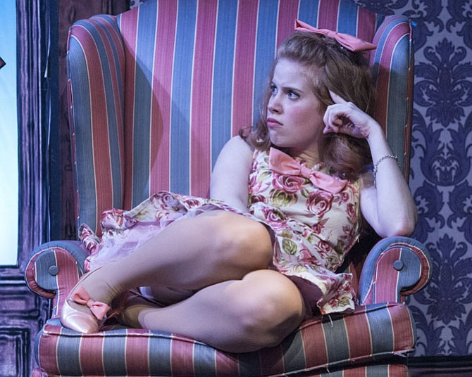 """Megan Graves in """"One Man, Two Guvnors"""" at 1st Stage. The show runs through Dec. 28."""
