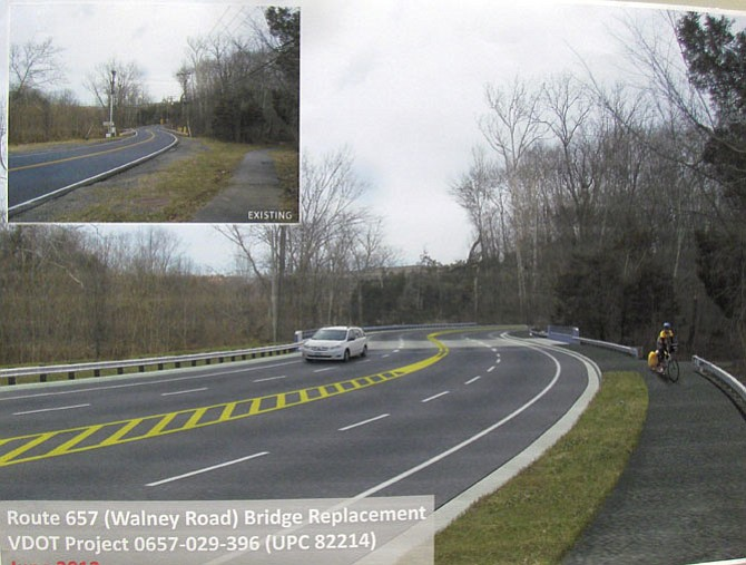 Artist's rendition of a widened, Walney Road Bridge, with inset photo of current bridge.