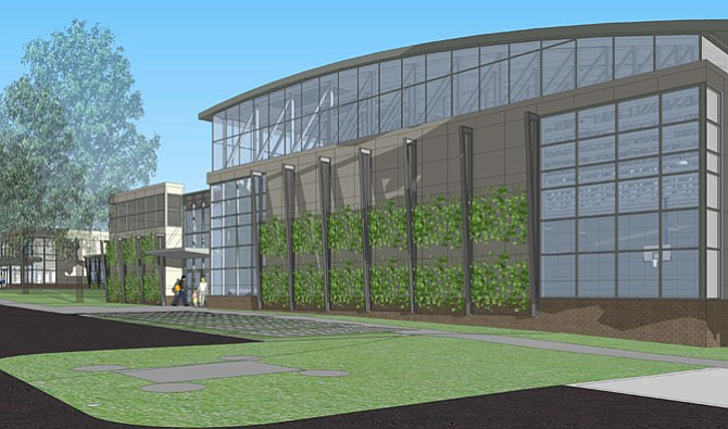 The Community Center's new gym will have live plantings on the exterior.