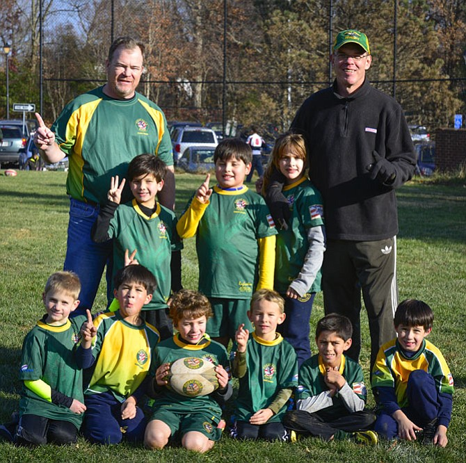 Gary Coetzee and the U9 Great Falls rugby team.