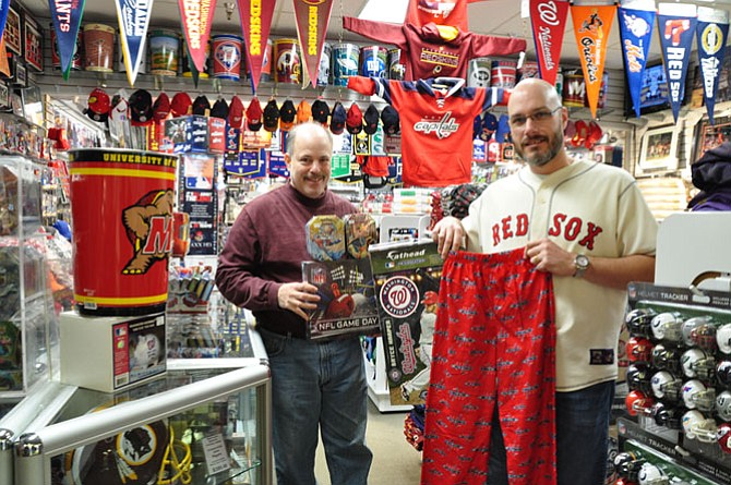 Peter Averinos, owner, and Brian Aguiar, manager, of Hall of Fame Card and