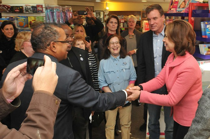 SBA Administrator Maria Contreras-Sweet is welcomed as she arrives at Hooray for Books in Old Town on Small Business Saturday.