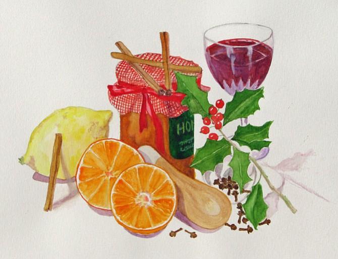 """""""Mulled Wine,"""" watercolor by Linda Jones."""