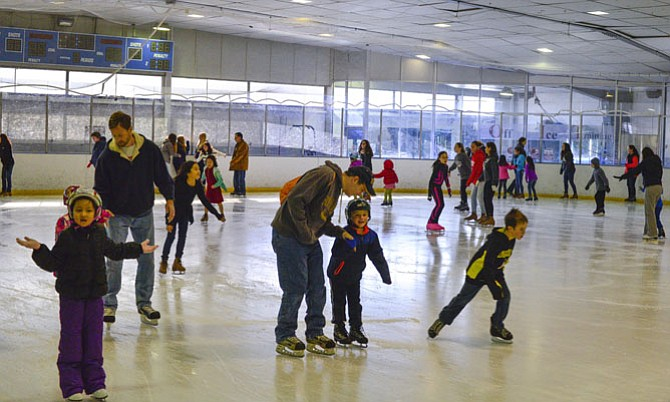 Families enjoying the ice at Fairfax Ice Arena.