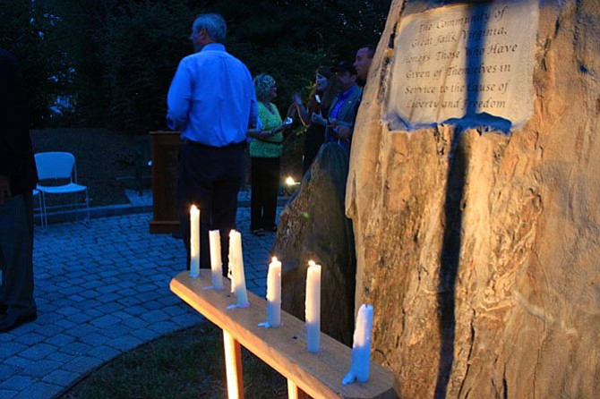 The candles lit after the Great Falls 9/11 Memorial Ceremony.