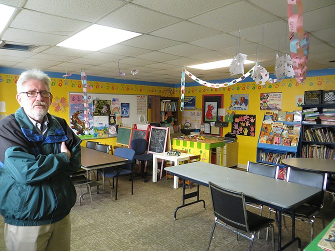 Arlington-Alexandria Coalition for Homelessness Director Michael O'Rourke and one of the program's play rooms.