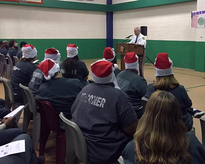Sheriff Dana Lawhorne speaks to inmates of the Alexandria Detention Center.