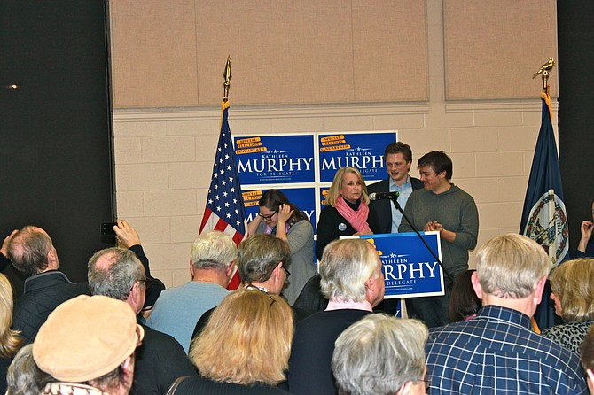 Kathleen Murphy, delegate-elect for the 34th District, thanks her staff during her victory party at McLean Community Center.