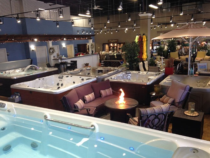 Options for outdoor décor, including swim spas and fire pit tables, abound at a newly formed showroom in Herndon.