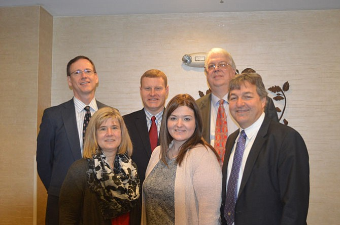 Back row: Sean O'Connell, PBMares, Chamber President, Supervisor Jeff McKay (D-Lee), Curtis Hoffman, FCEDA. Front row: Edythe Kelleher SFDC, Ashley McNeff, USHII, Chamber Chair, and George Ksenics, Belvoir FCU, Chamber VP.