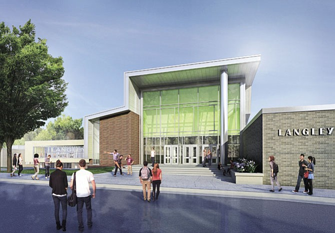 Rendering of Langley High School's south entrance in three years.