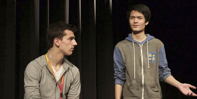 "From left: Erik McIntosh and Mike Gorospe in Oakton High School's production of ""Image is Everything."""