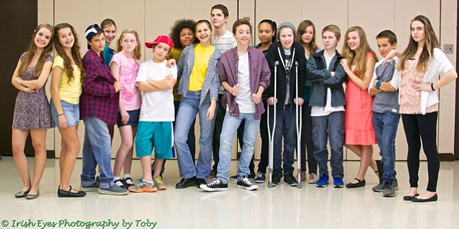 "Rehearsal photo of the cast of McLean Community Players' (MCP) winter musical, ""13."""
