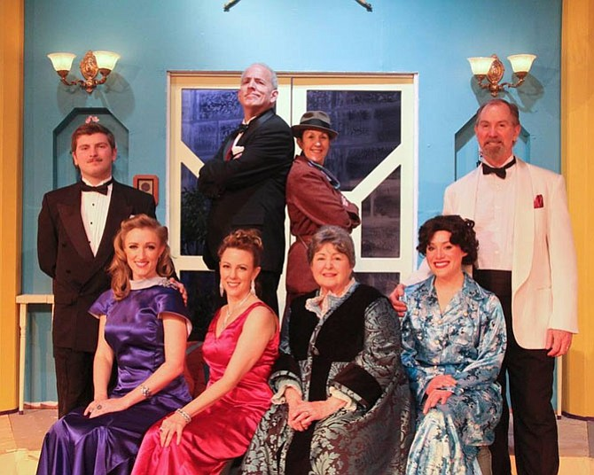"""The full cast of The Little Theatre of Alexandria's production of """"The Game's Afoot."""" Front row (L to R): Aggie Wheeler (Maureen R. Goldman), Daria Chase (Melissa Dunlap), Martha Gillette (Patricia Spencer Smith), and Madge Geisel (Pam Kasenetz).  Back row (L to R): Simon Bright (Joe Quinn), William Gillette (John Henderson), Inspector Harriet Goring (Michelle Fletcher), and Felix Geisel (Chuck Leonard)."""