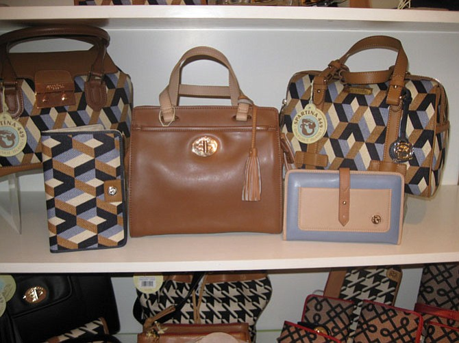 Spartina 449 handbags and accessores from Daufuskie Island, SC, feaure products made of linen trimmed with leather that come in geometric and simple patterns. Handbags range from $75 to $210; wallets are $50.