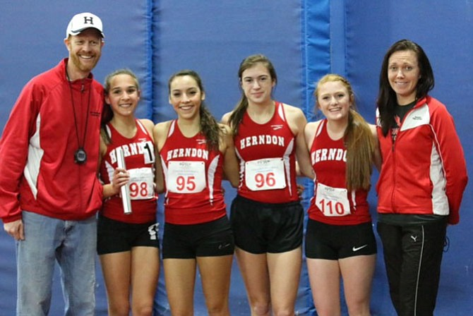 The Herndon High School indoor track women's team is the Conference 5 champion in the 4x800 relay. The Hornets' time of 9:46.34 is the 11th-fastest in school history. This was third time HHS has won the event and the first since 2008. The girls need to finish in the top six at regionals or run under 9:40.00 to advance to the state meet at Newport News the following week. The team is: Hannah Wolfe, Gabby Bustamante, Lauren Butler, and Olivia Duston.