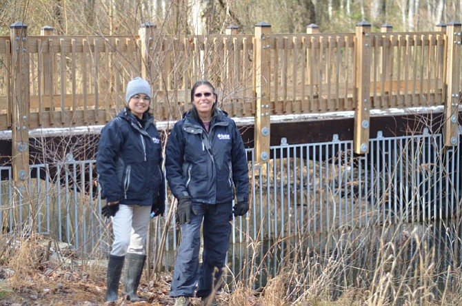 Reston Association's Patricia Greenberg and Environmental Resource Manager Claudia Thompson-Deahl by the beaver gate located at Glade Stream Valley in Reston. To build a dam, beavers cut small trees or use branches from larger trees.