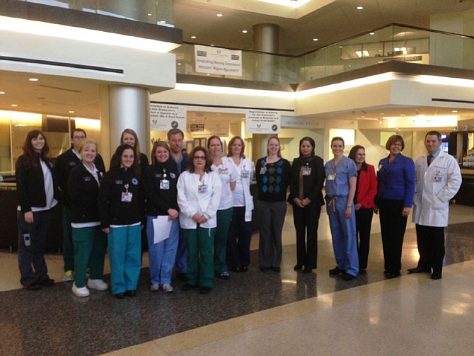 Virginia Hospital Center staff gather to celebrate achieving Magnet Nursing Status.