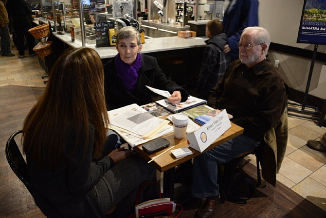 Del. Eileen Filler-Corn (D-41), left, and constituents Jane and Reede Taylor of Burke discuss schools and traffic at Filler-Corn's office hours held in Peet's Coffee & Tea in Springfield.